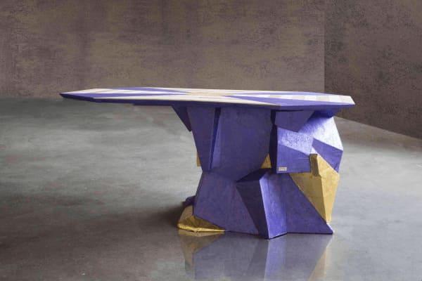 Hexagonal wooden table